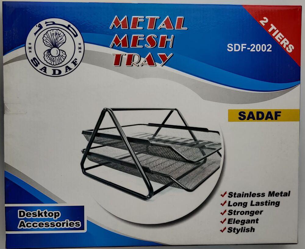 Sadaf Metal Mesh Tray-Stainless Metal- Desktop Accessories 2 Tiers