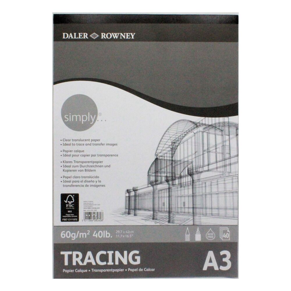 DALER ROWNEY SIMPLY TRACING PAD A3 40SHTS 60GSM 435935300