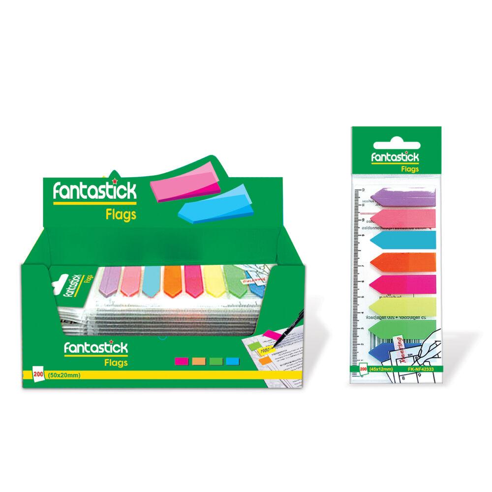 Fantastick Index Flag Film 42x12mm 200-Sheets 8 Colours Arrow Blister Pack